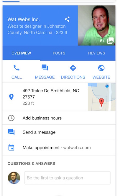 google my business mobile listing